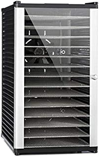 Klarstein Fruit Jerky 14 - Deshidratadora, Desecadora, Secadora de fruta y carne, 14 pisos, Montaje por inserción, 1000 W, Circulación de aire, Temperatura regulable, Pantalla LCD, Negro