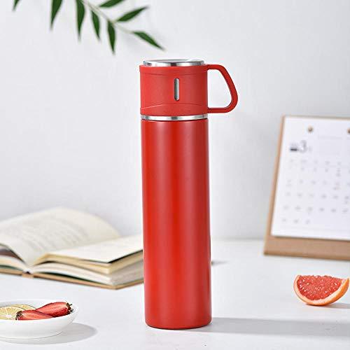 Jusemao Botella de agua portátil de acero inoxidable de gran capacidad para deportes al aire libre botella de agua 600ml-rojo_600ml