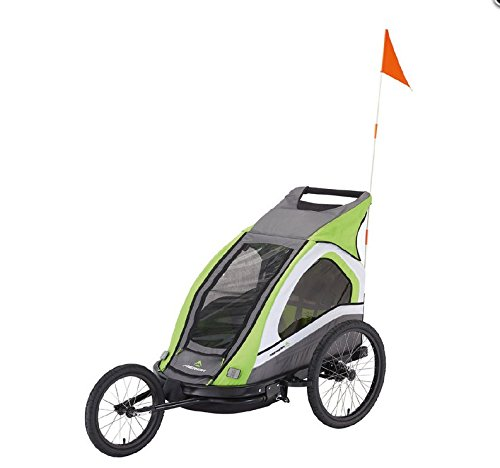 Merida Kids Trailer inkl. Jogging-Set & Schwenkrad für 2 Kinder bis 45 kg green/grey/white Neu