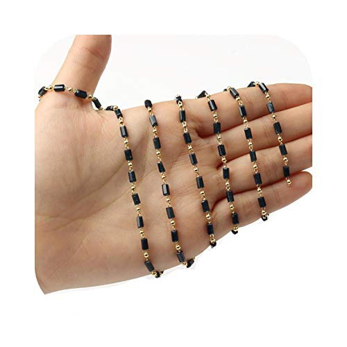 Cordón para gafas, cadena de 1 m, acero inoxidable, color dorado, perlas de piedra para joyas bricolaje, collares hechos a mano