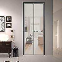 ドア用網戸 130x235cm 防虫バッチリ フライスクリーンドア 自動で閉まる ドア/窓に適しています, 灰