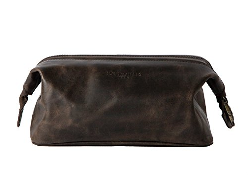 HOLZRICHTER Berlin handgefertigter Leder Kulturbeutel (M). Große, hochwertige Kulturtasche aus Leder in dunkel-braun