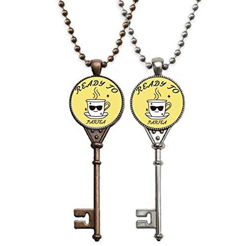 OFFbb-USA Teetasse trinken Sonnenbrille Party Schlüssel Halskette Anhänger Schmuck Paar Dekoration