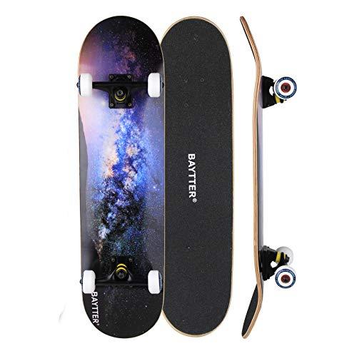 BAYTTER® Skateboard Komplett Board Funboard 79x20cm mit 7-lagigem Ahornholz und ABEC-11 Kugellager 95A Stoßdämpfer 31 x 8 Zoll, für Kinder, Jugendliche und Erwachsene, 3 Farben wählbar (sternenhimmel)