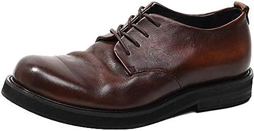 LEFT&RIGHT Mens Retro Vintage Derby Schuhe, Echtes Leder Flache Kleid Schuhe Runde Zehe Hochzeit Lace Up Formale Kleid Schuhe