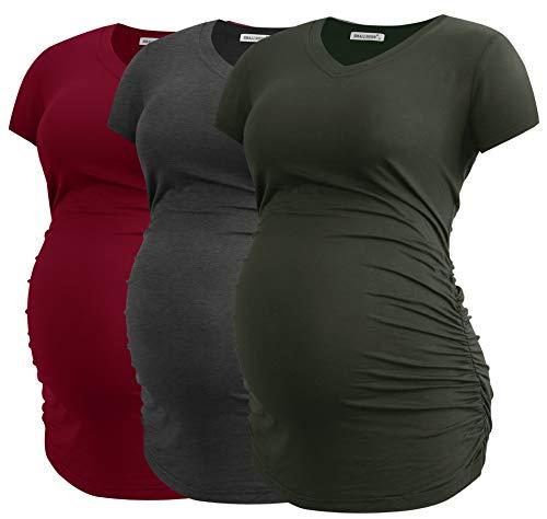Smallshow Ropa de Maternidad con Cuello en V para Mujeres Blusa de Embarazo con Pliegues Laterales Set de 3