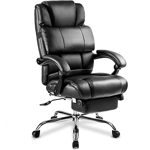 Merax Portland Technical Leather Big & Tall Executive Recliner Napping - Black