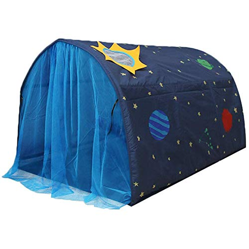 Powcan Play Tents for Girls Boys Galaxy Starry Sky Dream Bed Tents for Kids Portable Pop Up Baby Toddlers Playhouse with Double Net Curtain & Carry Bag for Bedroom Decor Indoor Games, 140x100x80cm