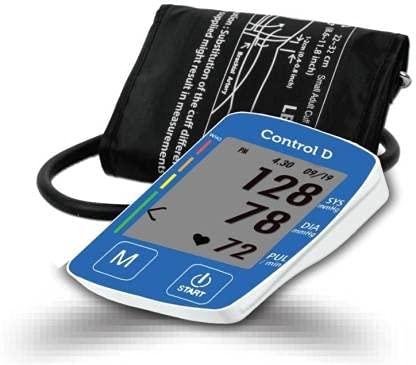 Control D Fully Automatic Oscillometric Digital Blood Pressure Checking Machine Upper Arm Portable Digital Blood Pressure Monitor BP Machine (Blue & White)