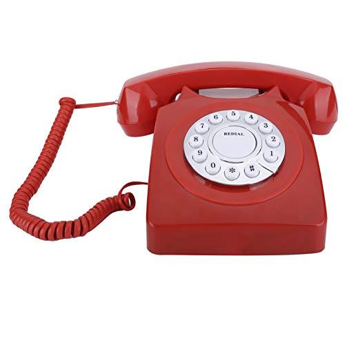 TeléFono Antiguo, TeléFono con Cable DoméStico Retro Europeo, TeléFono HD, BotóN Transparente Grande, TeléFono Fijo Antiguo, DecoracióN De La Oficina En Casa(Rojo)