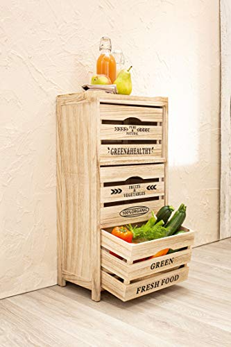 Dekoleidenschaft Kommode Food Storage aus Holz, 3 Schubladen, Obstregal, Kartoffelkiste,...