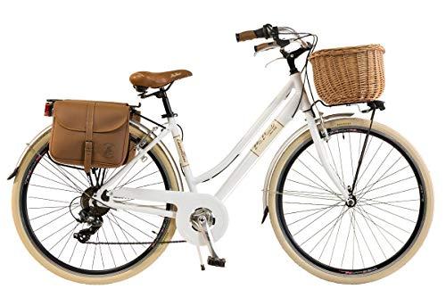 bicicletta donna con cestino Via Veneto by Canellini Bianco Taglia 46 Cesto+Borse