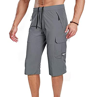 Men's Outdoor Hiking Shorts Quick Dry Stretchy 3/4 Capri Pants Cargo Shorts Male Grey