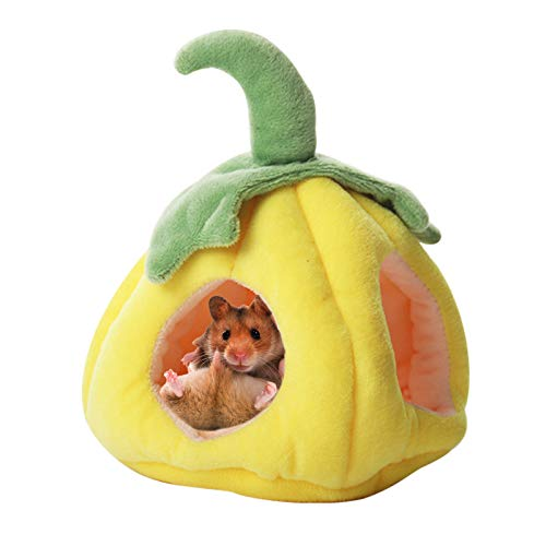 Souarts Hängebett Hamster Kuschelbett zubehör Süße Frucht Kleintiere Hängematte käfig Schlafnest Bettkäfige Spielzeug(Kürbis gelb,10x15x11cm)