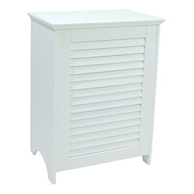 Redmon 5208WH Contemporary Country Louvered Front Hamper, White, 24 Piece