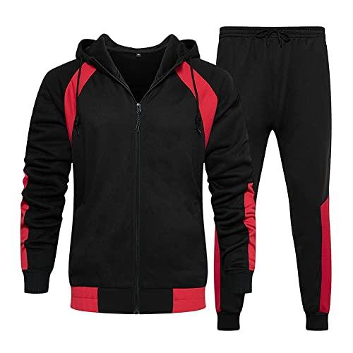 LBL Leading the Better Life Herren Trainingsanzug Jogginganzug Sportanzug Freizeitanzug Fitness Hose und Kapuzenpullover Sweat Suits Set Schwarz-XL