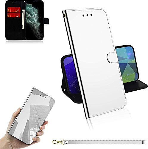 Sunrive Hülle Für Elephone P8000, Magnetisch Schaltfläche Ledertasche Spiegel Schutzhülle Etui Leder Hülle Cover Handyhülle Tasche Schalen Lederhülle MEHRWEG(Weiß)