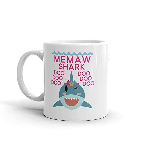 Taza de café de cerámica con mensaje'Shark Memaw' (11 onzas) - Regalo de cumpleaños para el día de la madre, regalo de Navidad para mamá, madre, abuela