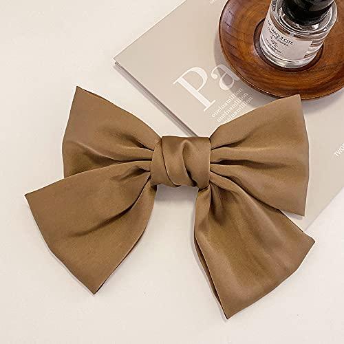zhengyang Horquilla de arco retro de satén grande clip de pelo clip de cabeza clip de pelo japonés y coreano accesorios para el pelo horquilla de arco (color: verde marrón)