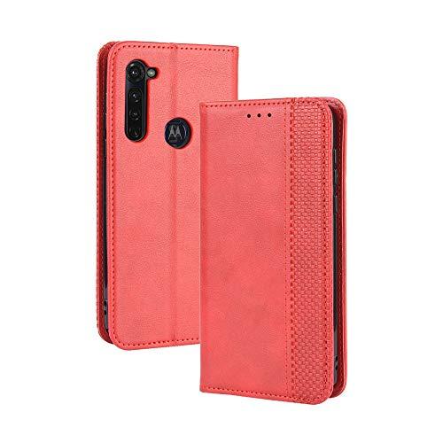 LAGUI Compatible para Funda Motorola Moto G Pro, Carcasa Tipo Libro Protector Magnético y Plegable de PU Soporte de Ranuras para Tarjetas, Rojo