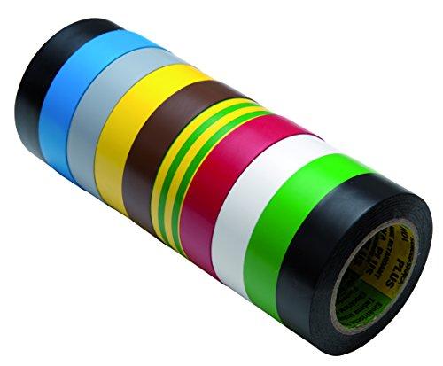 Isolierband Reparaturband Set in verschiedenen Farben, Länge 10 m, Breite 15mm, 10 Rollen, universell für den Elektrobereich, erfüllt VDE, ÖVE & SEV