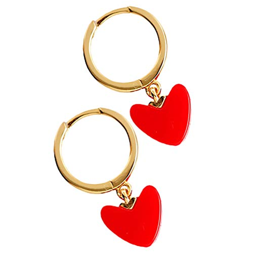 Brinco de Natal Valicclud simples brinco de coração de Natal festivo brincos de decoração de orelhas para mulheres e meninas decorações para festa (vermelho)