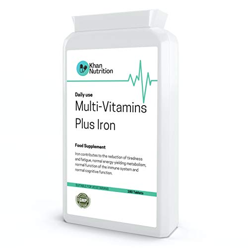 Halal Multivitamins Plus Iron | 180 Daily Tablets (6 Month Supply) | Vegetarian Friendly