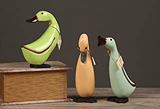 URToys 3Pcs/Set Vintage Painted Hand Carved Cute Ducks Miniature Wooden Decoration Figurine Decor Wedding Gift Garden Dollhouse Ornament Model Christmas Toy for Kids