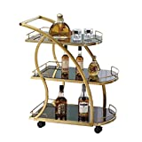 Servierwagen, 3 Tier Edelstahl-Dienstprogramm Rollwagen Kitchen Island Trolley Serving Catering Wagen mit blockierende Räder for Hotels Restaurant Home Use