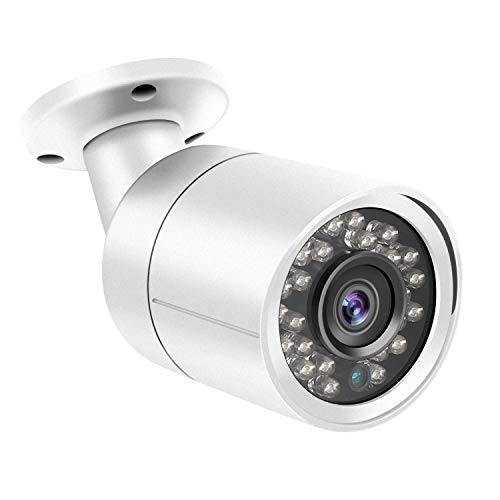 Dericam 1080P@30fps 1920TVL Full HD Bullet Outdoor Security Camera, HDCVI/HDTVI/AHD/960H CVBS 4-in-1 Surveillance Camera, IP66 Metal Housing, 24 LEDs/82ft Night Vision, 85°Viewing Angle, AC2MB2, White