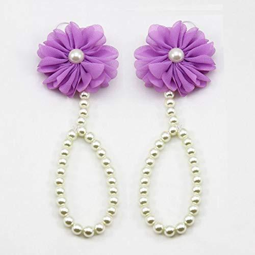 HaiQianXin Pearl Flower Kid Baby Girls Cadena de pie Anillo de Dedo del pie Descalzo Cadena de Tobillo Sandalias de Verano (Color : Purple)