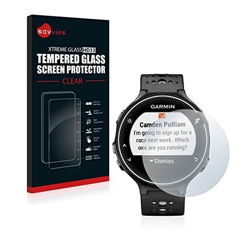 Savvies Panzerglas kompatibel mit Garmin Forerunner 230 - Echt-Glas, 9H Festigkeit, Anti-Fingerprint