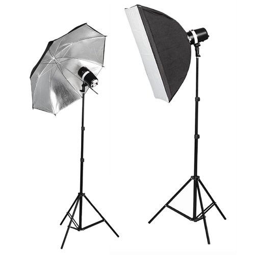 CowboyStudio 360 Watt Photo Studio Monolight Strobe Softbox/Umbrella Lighting Kit - 2 Studio Flash/Strobe, 1 Softbox, 1 Reflective Umbrella