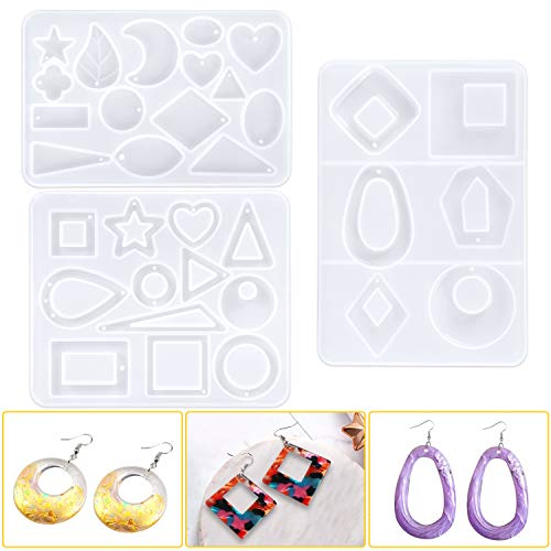 Earring Resin Molds,Jewelry DIY Making Resin Molds for Earrings, Silicone Epoxy Earring Resin Casting Molds with Holes,33 Forms 3 Pack