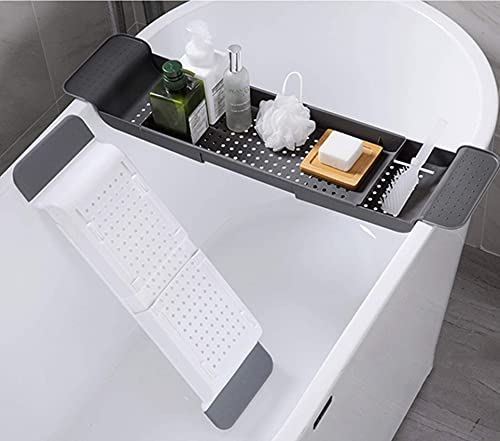 Llq2019 Estante de plástico para baño Bandeja de baño Extensible Carrito para bañera Bañera de Drenaje telescópica Organizador de Ducha de baño Estante de Almacenamiento para Lavabo de baño Blanco