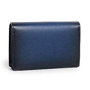 [ポヨリー] 名刺入れ 本革 メンズ 大容量 カードケース ビジネス 男女兼用 40枚収納 人気プレゼント ネイビー