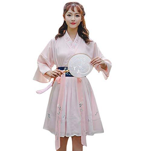 Susichou Hanfu Juego de Falda Bordada Estilo Chino con moño y Manga de Trompeta para Disfraz de Rendimiento