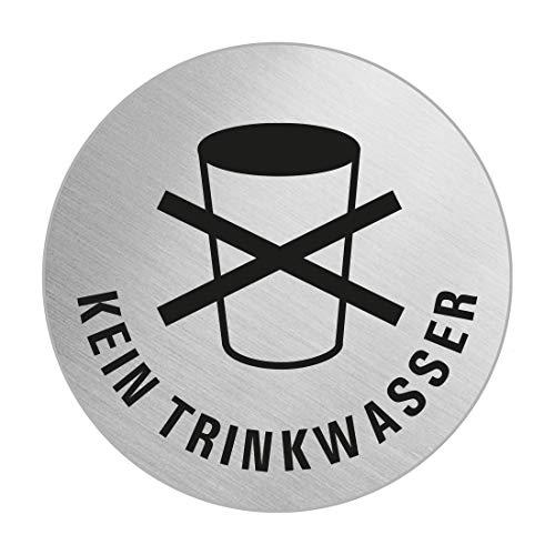 Schild Kein Trinkwasser | Ø 60 mm | selbstklebend | Original aus der Ofform Edelstahlschilder-Kollektion | Nr.7285