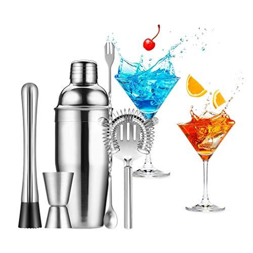 Gomyhom Cocktailshaker Set, 5 Teilige Cocktailmixer Set,750 ml Cocktail Geschenk Set aus Edelstahl inkl. Cocktail Shaker,Barlöffel, Eisbrecher, Filtersieb, Messbecher