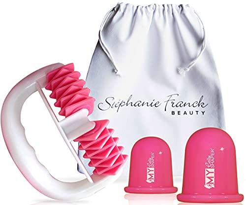 Cellulite-Set mit 1 Body Shaper Roller 2 Cellu Shaper Saugglocken S+L und 1 Baumwoll-Säckchen (Pink)