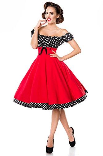 Belsira schulterfreies Swing-Kleid - rot/schwarz/weiss, Größe:M