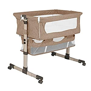 2 in 1 Bedside Sleeper Crib, Portable Baby Bassinet Travel Bed Crib with Mattress and Storage Basket, Height Adjustable Easy Folding Sleeper for Newborn Infant/Baby Boy/Baby Girl Khaki