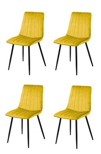 Denia Silla, Telas, Amarillo Mostaza, 44cm (Ancho) x 55cm (Fondo) x 88,5cm (Alto)