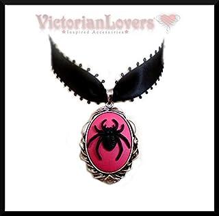 Halskette mit Riesen-Spinne Halsband schwarz Tarantel Gothic Halsschmuck Hexe