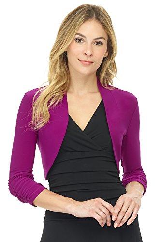 Rekucci Women's Chic Soft Knit Stretch Bolero Shrug with Ruched Sleeves (Medium,Magenta)