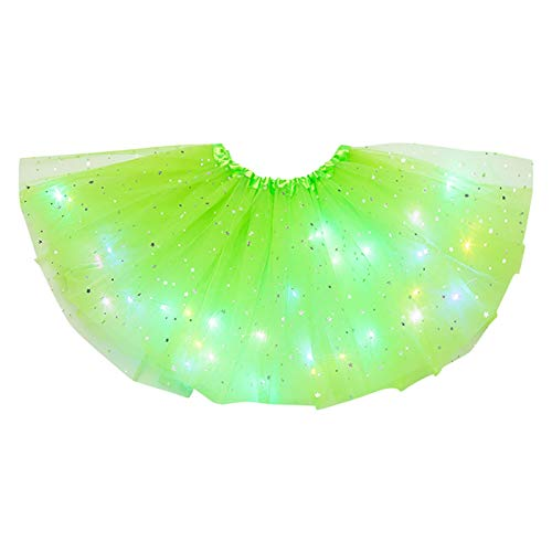 Faldas de bailarina con luces LED de 3 capas de estrellas de malla para mujer