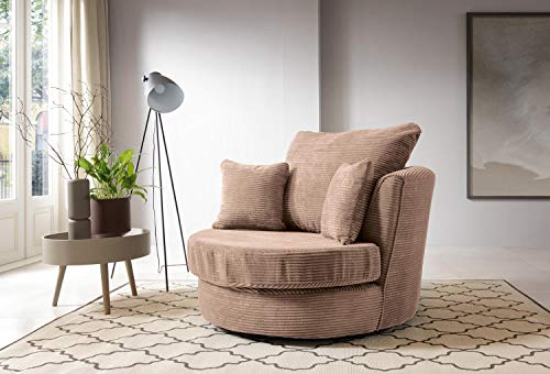 Abakus Direct Jumbo Cord Corner Sofa, Settee, Full Chenille Cord Fabric in Brown (Swivel Chair)