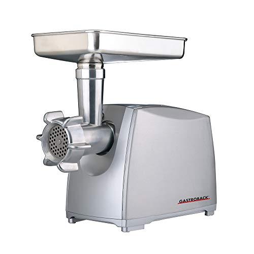 Gastroback 41408 Design Fleischwolf Pro M, 2.000 Watt max, Edelstahl-Kreuzmesser, Aluminiumdruckguss-Gehäuse, Aluminium, silber