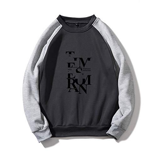 Conjunto de letras de bloqueo impreso suéter moda moda manga larga suéter cuello redondo chaqueta