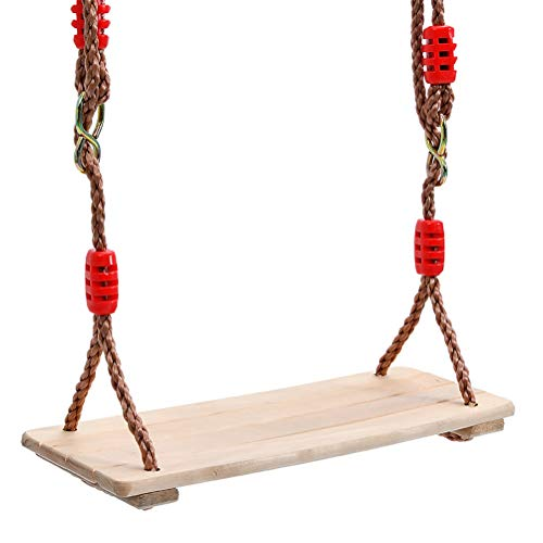 N / A Columpio colgante de árbol para adultos y niños pulido de cuatro tablas, asiento de columpio de madera anticorrosión, para interior al aire libre, rojo, 40 x 16,2 x 1,2 cm